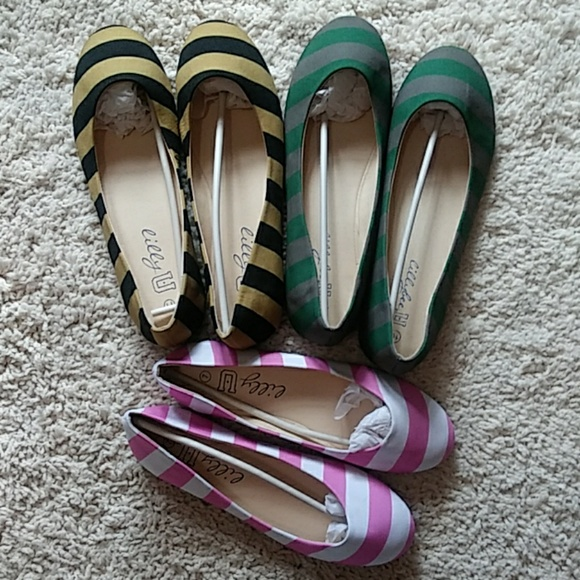 Lillybee Shoes - NWT Lillybee U Striped Flat
